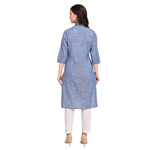 Inddus Blue Handloom Cotton Solid Ikkat Kurta with Cotton Solid Palazzo
