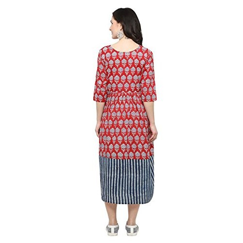 Inddus Red Printed Flared Dress/Midi Length/Dress for Women