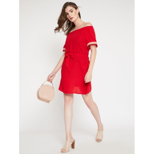 RARE Women Red Solid A-Line Dress
