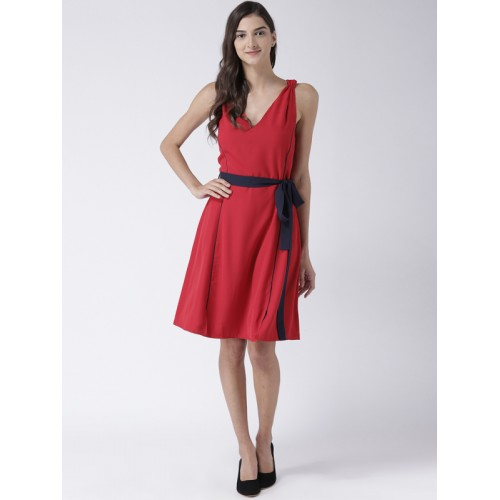 STREET 9 Women Red Solid Fit and Flare Dress