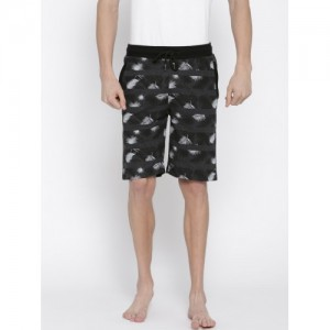 Sweet Dreams Men Charcoal Grey Printed Lounge Shorts MK-165918COM