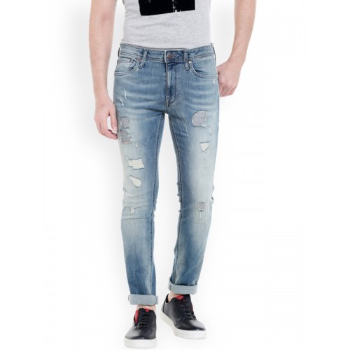 40425839e2f19f ... Jack   Jones Men Blue Skinny Fit Low-Rise Highly Distressed Stretchable  Jeans ...
