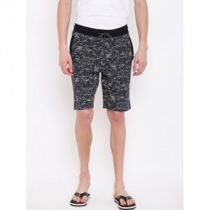 Sweet Dreams Men Black & Grey Printed Lounge Shorts MK-165118COM