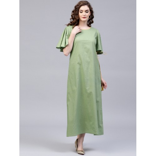 2a356eacdc Buy AKS Women Green & Golden Printed Maxi Dress online | Looksgud.in