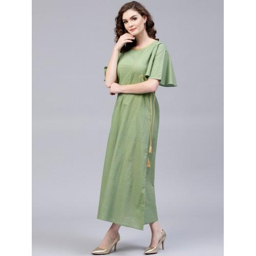 bbd9d4f2737 Buy AKS Women Green   Golden Printed Maxi Dress online