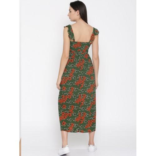 Mast & Harbour Women Green Printed Maxi Dress