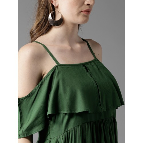 HERE&NOW Women Green Solid A-Line Dress
