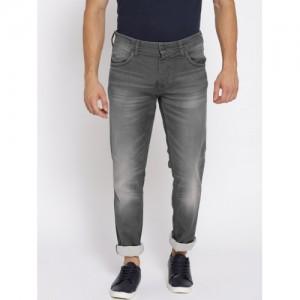 Jack & Jones Men Grey Tim Slim Fit Mid-Rise Clean Look Stretchable Jeans