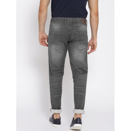 Jack & Jones Men Grey Tim Slim Fit Mid-Rise Clean Look Stretchable Jeans