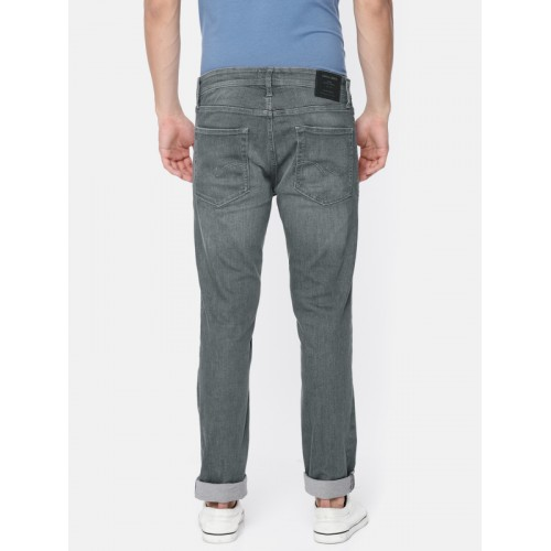 Jack & Jones Men Grey Skinny Fit Low-Rise Mildly Distressed Stretchable Jeans