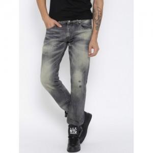 R.D.D. by Jack & Jones Men Grey Tim Slim Fit Jeans