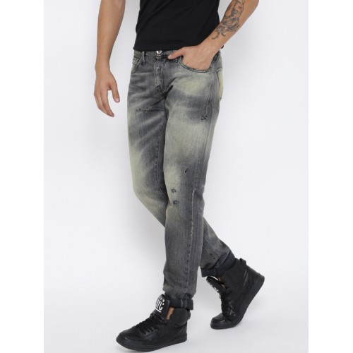 R.D.D. by Jack & Jones Men Grey Tim Slim Fit Jeans