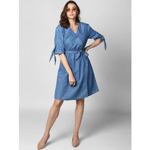 StyleStone Women Blue Solid Wrap Dress