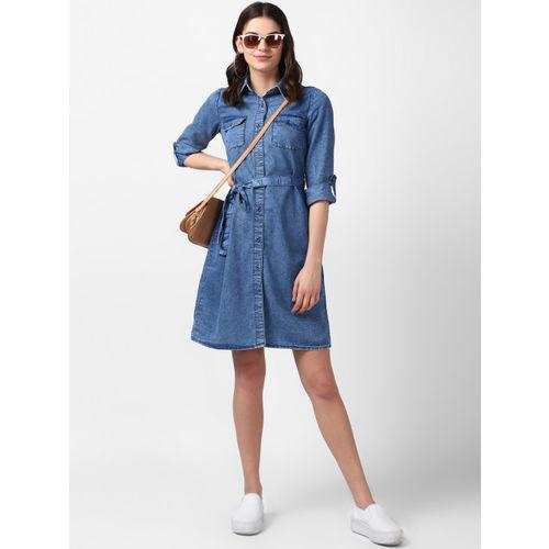 StyleStone Women Blue Solid Shirt Dress