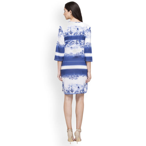 Globus Women Blue Printed A-Line Dress