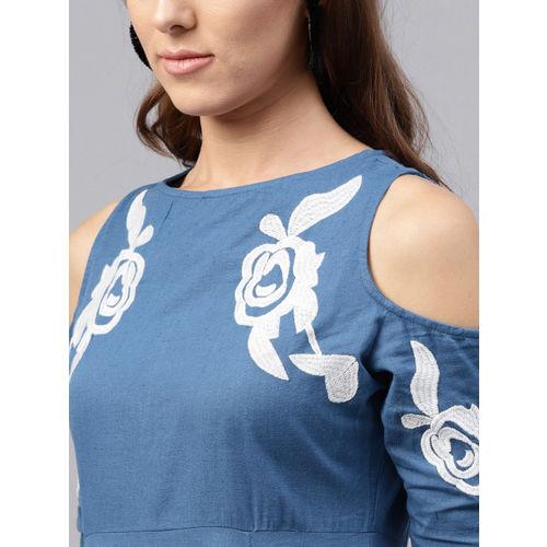 SASSAFRAS Women Blue Solid Empire Dress