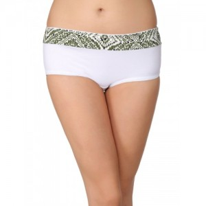 Clovia Women White & Green Hipster Briefs PN1842P18