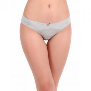 Clovia Women Grey Self-Design Bikini Briefs PN2706P01XL