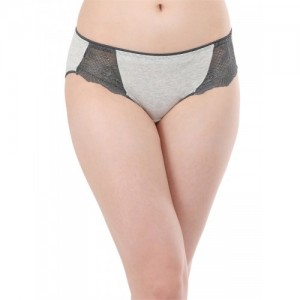 Clovia Women Grey & Black Solid Hipster Brief PN2617P01XL