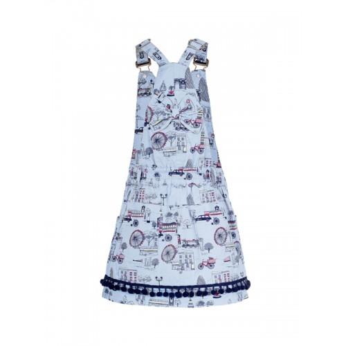 naughty ninos Girls Blue Printed Pinafore Dress