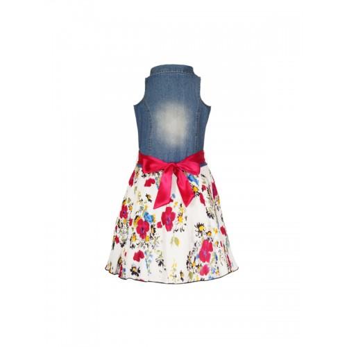 naughty ninos Girls Blue Printed Shirt Dress