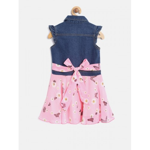 Nauti Nati Girls Blue & Pink Printed Denim Fit and Flare Dress