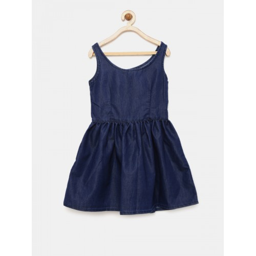 YK Girls Blue Solid Fit & Flare Dress