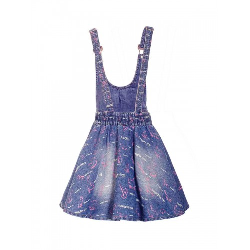 naughty ninos Girls Blue Printed Denim Dungaree Dress