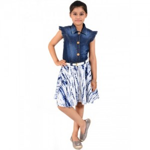 Naughty Ninos Girls Blue Dyed Fit & Flare Dress