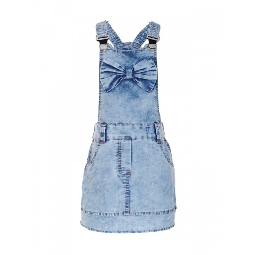 naughty ninos Girls Blue Solid Pinafore Dress