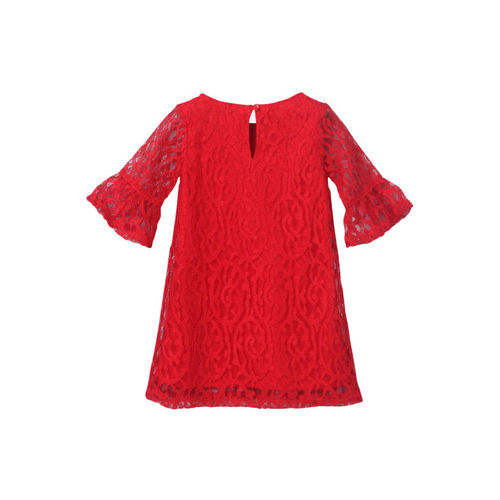 Beebay Girls 80% Cotton, 20% Polyester A-line Lace Bow Dress (Red)