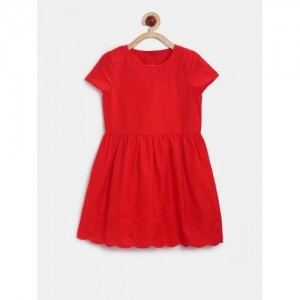 mothercare Girls Red Self-Design Fit & Flare Dress