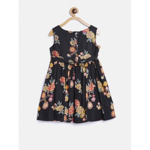 569f01128 ... Bella Moda Girls Black & Mustard Yellow Floral Print Fit & Flare Dress  with Shrug ...