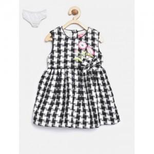 Nauti Nati Girls Black & White Checked Fit & Flare Dress