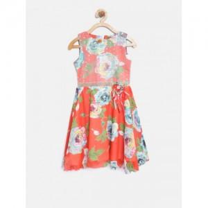 Tiny Girl Orange & Off-White Floral Print Fit & Flare Dress