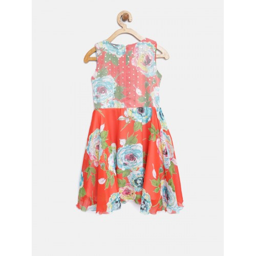 Tiny Girl Orange & Off-White Floral Print Fit & Flare Dress