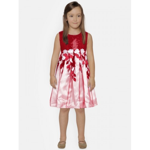 YK Girls Maroon Sequinned Fit & Flare Dress