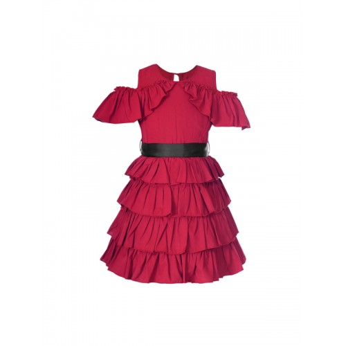naughty ninos Girls Maroon Solid Fit and Flare Dress