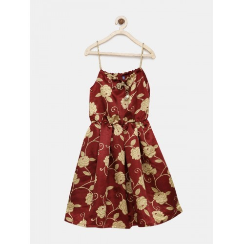 YK Girls Maroon Printed A-Line Dress