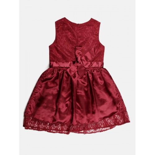 YK Girls Maroon Lace Fit & Flare Dress