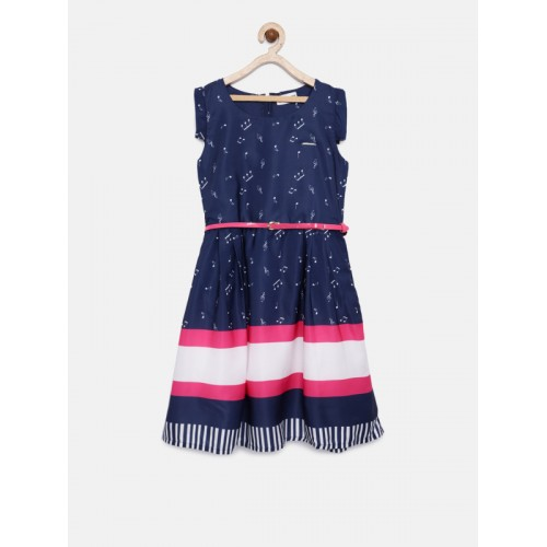 Peppermint Girls Navy Blue Printed Fit and Flare Dress