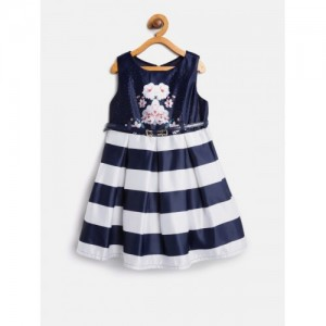 Nauti Nati Girls Navy Blue & Off-White Striped Fit & Flare Dress with Printed Detail