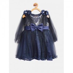 Nauti Nati Girls Navy Self-Design Fit & Flare Dress