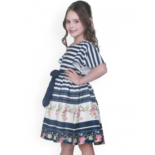 CUTECUMBER Girls Navy Blue Printed Fit and Flare Dress