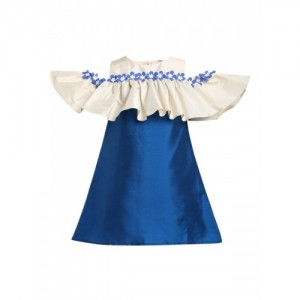 A Little Fable Girls Navy Blue Self Design A-Line Dress