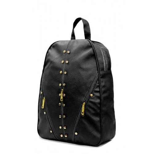 RIDGEWOOD PU Leather Backpack School Bag Student Backpack Women 6 L Backpack(Black)
