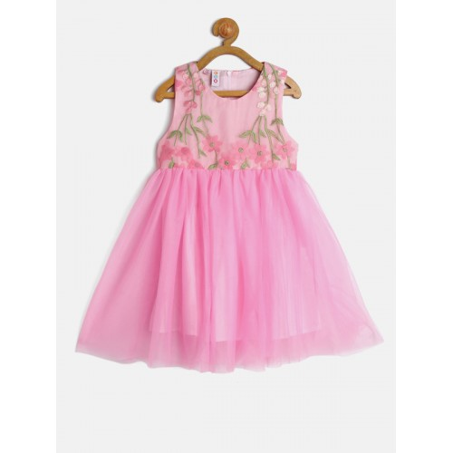Kids On Board Girls Pink Solid Fit & Flare Dress with Embroidered Detail