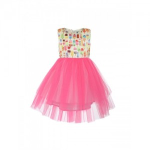A Little Fable Girls Pink & Beige Printed Fit and Flare Dress