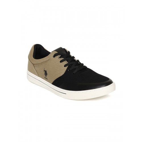 U.S. Polo Assn. Men Deloris Khaki & Black Colourblocked Sneakers