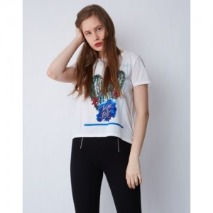 Provogue Casual Short Sleeve Graphic Print Women's White Top